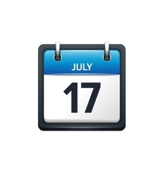 July 17 Calendar icon flat vector