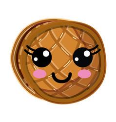 Kawaii cute happy waffles with honey vector