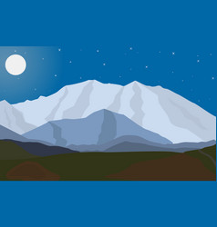Landscape evening mountains with the moon vector