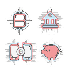 Line set icon circuit bitcoin money currency vector