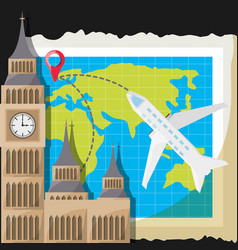 Map with airplane and church architecture vector