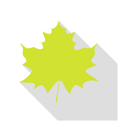 maple leaf sign pear icon with flat style shadow vector image