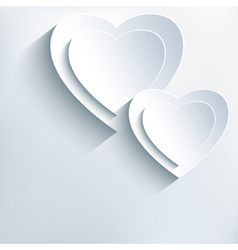 Modern grey background with white paper 3d hearts vector image