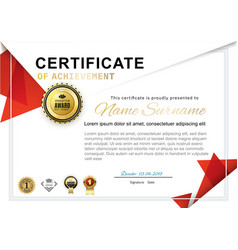 Official white certificate with red triangle vector