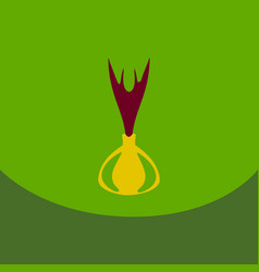 onion icon in flat style onion logo vegetable vector image