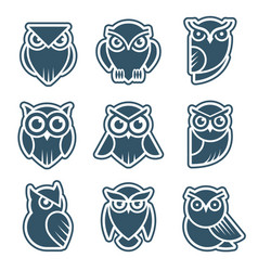 owl logo stylized wild animal symbols bird face vector image