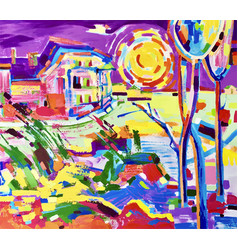 painting of colorful rural landscape vector image