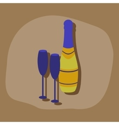 paper sticker on stylish background Champagne vector image