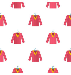 Pink striped pajama shirt pattern seamless vector