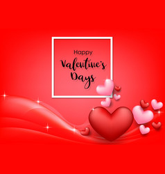 pink valentines day background with hearts on red vector image