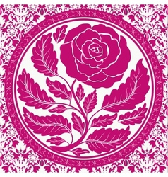 Pink vintage rose in round frame vector