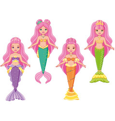 princess mermaids paper dolls vector image