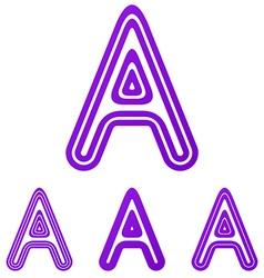 Purple line a logo design set vector