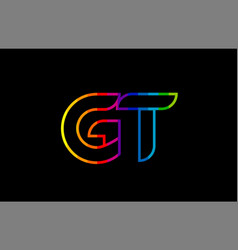 Rainbow color colored colorful alphabet letter gt vector