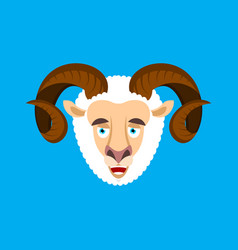 ram happy face emotion avatar sheep merryl emoji vector image