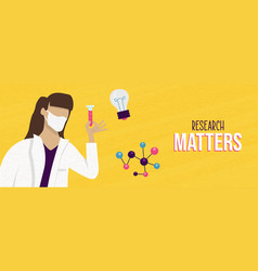 Research matters banner scientist woman vector