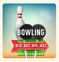 Retro Neon Sign Bowling vector