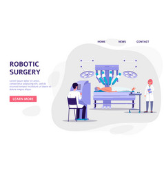 Robotic surgery - banner with doctors characters vector