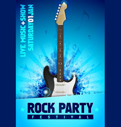 rock festival concert poster template with guitar vector image