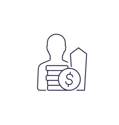 Salary raise growth line icon vector