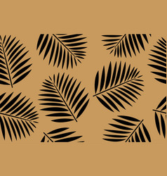 Seamless pattern black palm leaves gold vector