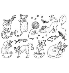 set cute cats kittens collection icons of vector image