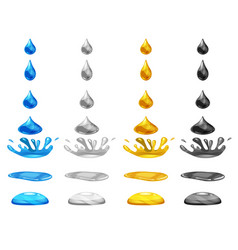set drop of liquid water falls and makes a splash vector image