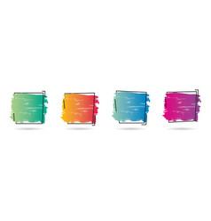 set grunge paint texture design over frame vector image