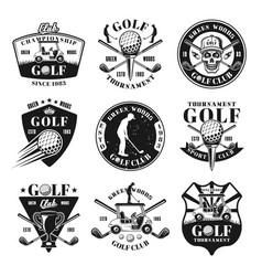 set nine golf monochrome vintage emblems vector image