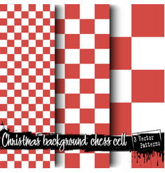 Set of christmas chess cell backgrounds vector