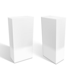 set of small white cardboard boxes with shadows vector image