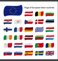 Set the flags of european union countries member vector