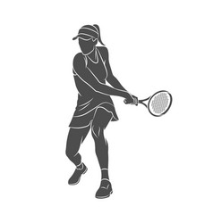 silhouette tennis player with a racket on a white vector image