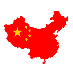 Simplified map shape china with flag vector