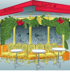sketch of the Parisian cafe vector image