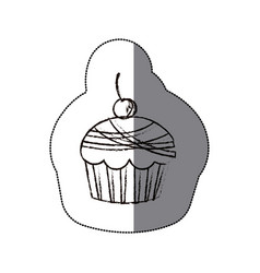 Sticker blurred silhouette cherry cupcake icon vector