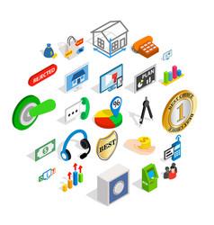 successful employee icons set isometric style vector image