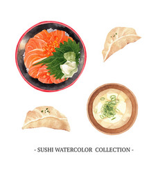 Sushi collection design isolated watercolor on vector