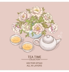 Tea pot with tea cup and sugar bowl vector