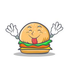 Tongue out burger character fast food vector