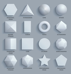 Top view realistic white math basic 3d shapes vector