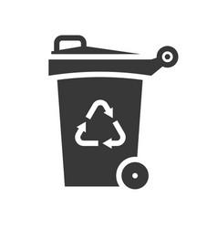 Trash can and recycle symbol icon vector