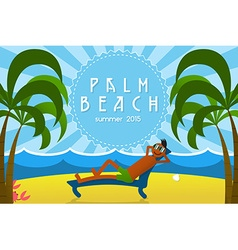 Tropical Island Vacation Postcard with Relaxing vector