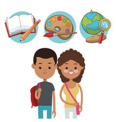 Two student with elements school icons vector
