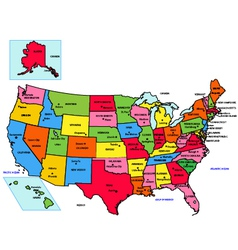 USA 50 States with State Names vector