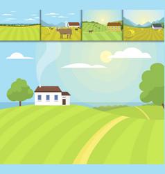 Village landscapes farm house vector