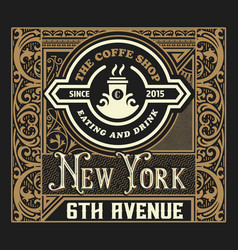 vintage coffee label layered vector image