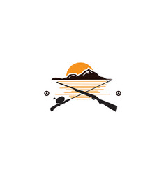 vintage hunting emblems with fishing tackle vector image