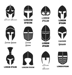 Warrior helmets black icons or logos set vector