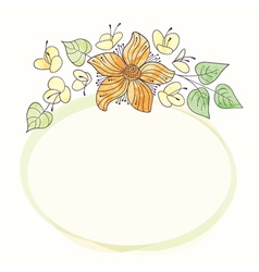 Watercolor round flower frame Hand draw floral vector
